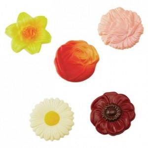Moule 10 fleurs assorties en polycarbonate pour chocolat
