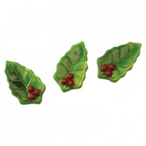 Moule 14 feuilles de houx en polycarbonate pour chocolat
