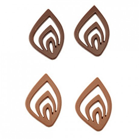 Moule 15 feuilles stylisées en polycarbonate pour chocolat 275 x 175 mm