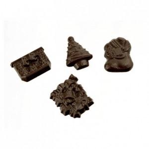 Moule 18 mini décors de Noël en polycarbonate pour chocolat