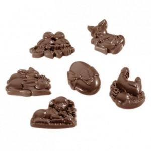 Moule 18 sujets de Pâques en polycarbonate pour chocolat