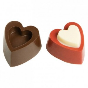 Moule 24 bonbons coeurs reliefs en polycarbonate pour chocolat