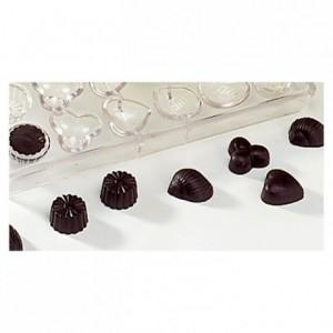 Moule 24 empreintes assorties en polycarbonate pour chocolat