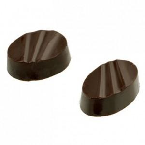 Moule 28 bonbons ovales striés en polycarbonate pour chocolat