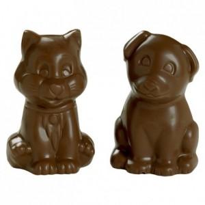 Moule 2 chats en polycarbonate pour chocolat