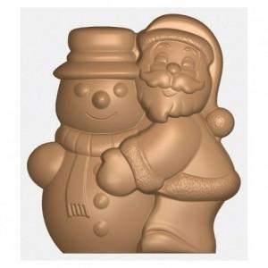 Moule 2 Père Noël et bonhomme de neige en polycarbonate pour chocolat 275 x 175 mm