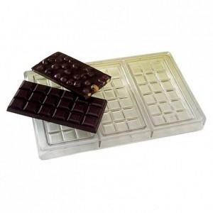 Moule 3 tablettes 100 g en polycarbonate pour chocolat