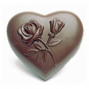 Moule 4 coeurs décorés fleurs en polycarbonate pour chocolat
