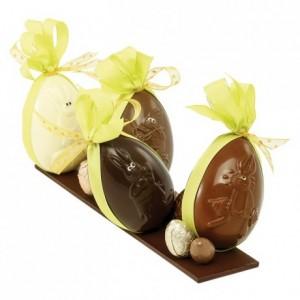 Moule 6 oeufs décorés lapin en polycarbonate pour chocolat