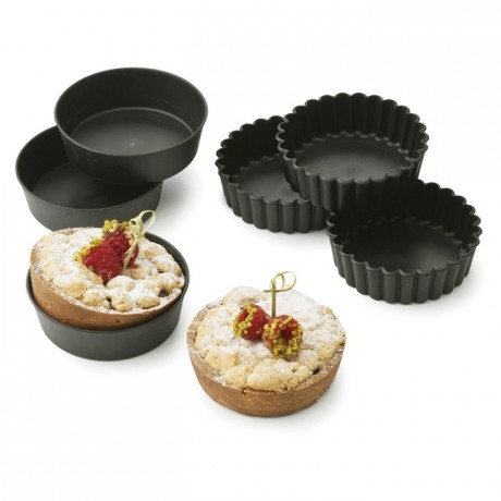 Individual fluted pie mould Exoglass Ø 100 mm H 30 mm (12 pcs)
