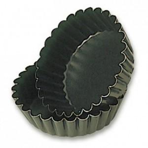 Moule à manqué rond cannelé à fond fixe Ø 100 mm H 30 mm en Exopan