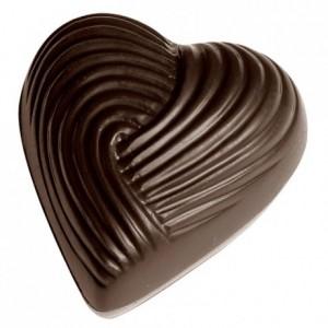 Moule bonbons coeur striés en polycarbonate pour chocolat