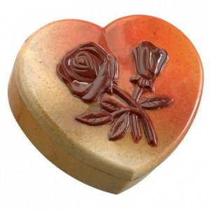 Moule boite coeur décoré fleurs en polycarbonate pour chocolat