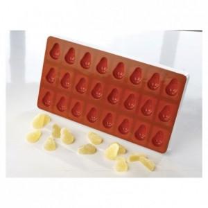 Moule flexible à pâte de fruit demi poire 40 x 26 x 15 mm