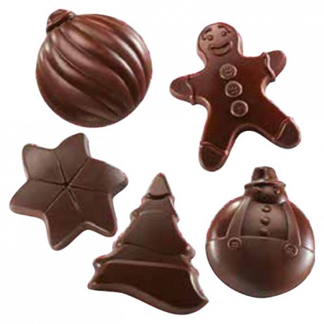 "Mould chocolate ""Christmas spirit"" 5 shapes"