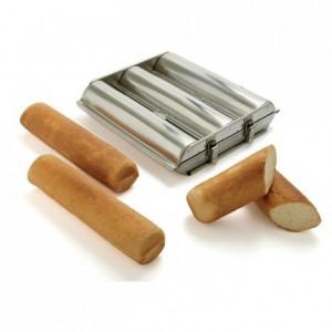 Moule triple toast ou pain de mie rond L 300 mm Ø 70 mm