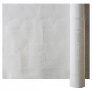 Nappe damassée blanche en rouleau 1,20 m x 100 m (lot de 1)