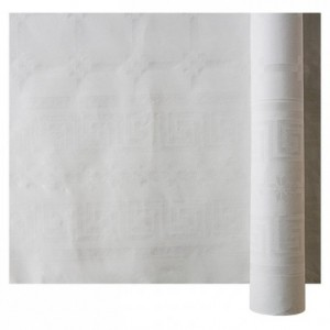 Roll of white damask table cloth 1.2 x 100 m (1 pc)