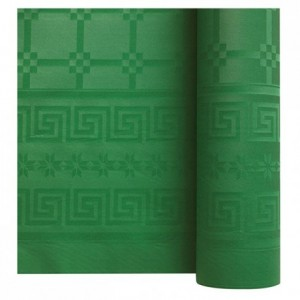 Damask coloured table cloth green 1.2 x 25 m