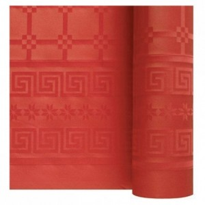 Damask coloured table cloth red 1.2 x 25 m