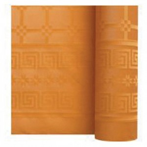 Damask coloured table cloth mandarin 1.2 x 25 m