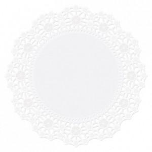 Napperons Wilton blanc rond 25 cm (lot de 10)