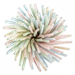 Paille articulée enveloppée à rayures (lot de 500)