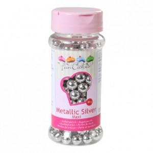 Perles de sucre FunCakes argent métallisé 8 mm 80 g