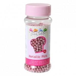 Perles de sucre FunCakes rose métallisé 80 g