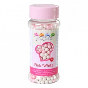 FunCakes Soft Pearls Pink and White 60g