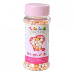 FunCakes Soft Pearls Orange and White 60g