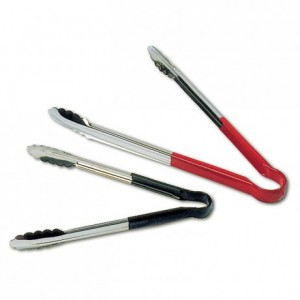 All-purpose tongs with non-slid PVC handle black L 240 mm