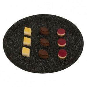 Black crystal round tray with rim Ø 340 mm