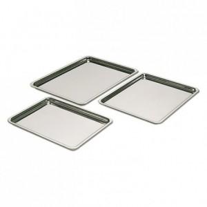 Plateau pâtissier bord plat inox 180 x 130 mm