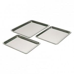 Plateau pâtissier bord plat inox 230 x 170 mm