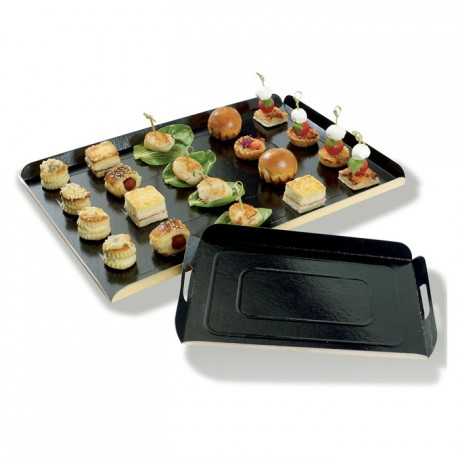Black folded cardboard tray 280 x 190 mm (100 pcs)