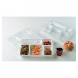 5 compartments tray white (200 pcs)