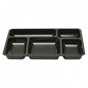 5 compartments black tray (200 pcs)