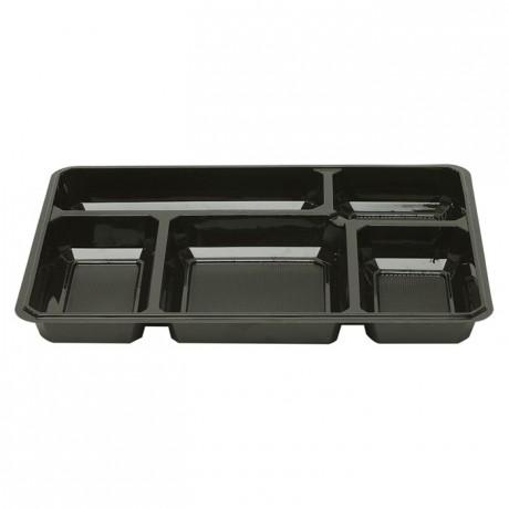5 compartments black tray (200 pcs)