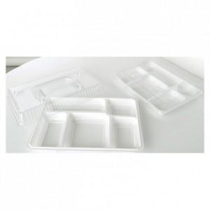 Plateau repas 5 compartiments renforcé blanc (lot de 200)