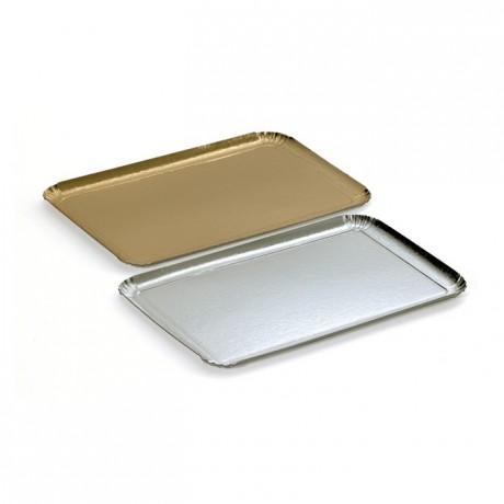 Plateau traiteur carton métallisé argent 1 face 280 x 190 mm (lot de 25)