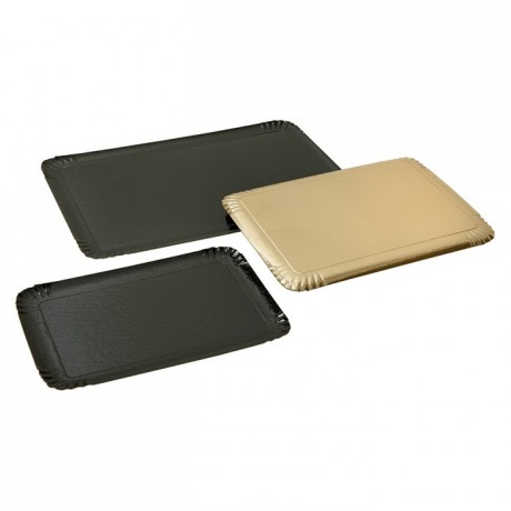 Double side carterer cardboard tray metallic effect black gold 240 x 250 mm (100 pcs)