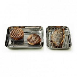 Pan + grill stainless steel L 240 mm