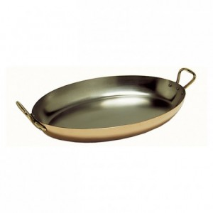Oval dish with handles Elegance copper/stainless steel L 300 mm
