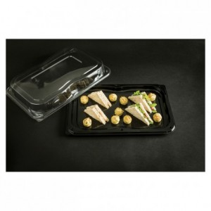 PS tray with lid black L 450 mm (25 pcs)