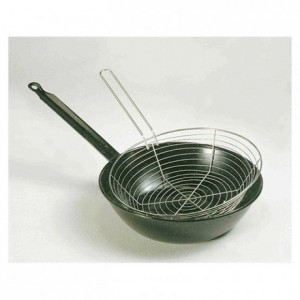 Frying pan with basket black steel Ø 240 mm