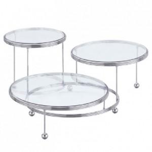Présentoir Wilton métal plateaux cristal 3 gâteaux