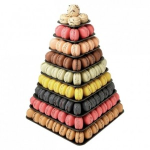 Black macarons pyramid 9 levels