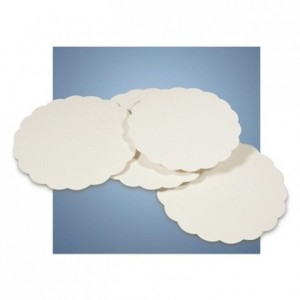 Scalloped round all wood Ø 250 mm (250 pcs)