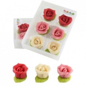 Roses à feuille verte en pâte d'amandes FunCakes rouge, rose et blanc 6 pièces